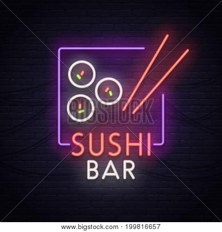Sushi bar sign, bright signboard, light banner. Sushi logo, emblem.