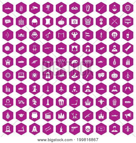 100 film icons set in violet hexagon isolated vector illustration