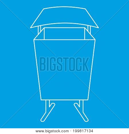 Public dust bin icon blue outline style isolated vector illustration. Thin line sign