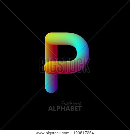 3d iridescent gradient letter P. Typographic minimalistic element. Vibrant gradient shape. Liquid color path. Creativity concept. Visual communication poster design. Vector illustration. Logo template