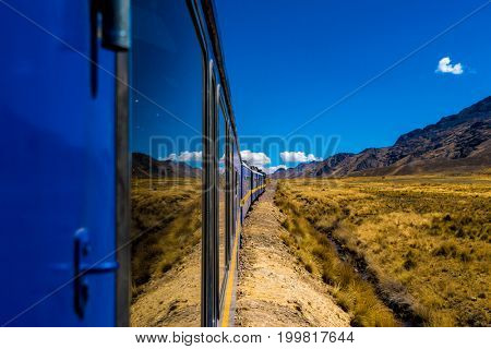 Wonderful view from the train between Cusco and Puno, Peru