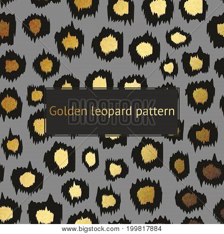 Vector leopard pattern with gold on a gray background. Decorative background for the design of surfaces covers posters banners sales printing creative design and advertising projects