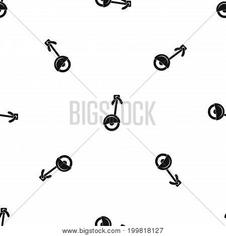 Unicycle pattern repeat seamless in black color for any design. Vector geometric illustration