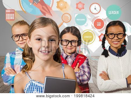 Digital composite of Girls with tablet in front of grey wall and leader graphics