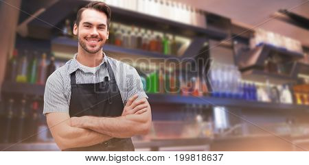 Composite image of portrait of handsome waiter