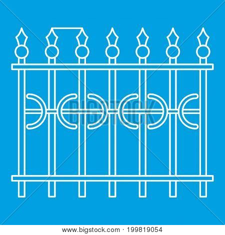 Park fence icon blue outline style isolated vector illustration. Thin line sign