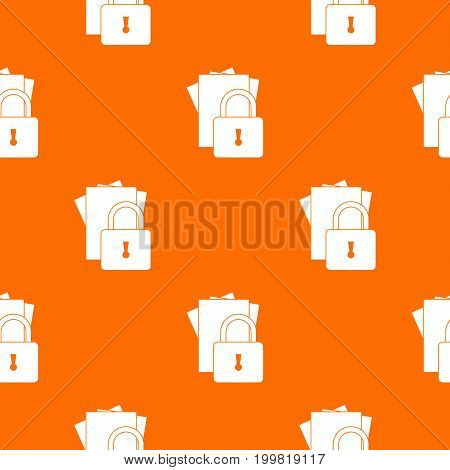 Folders with padlock pattern repeat seamless in orange color for any design. Vector geometric illustration