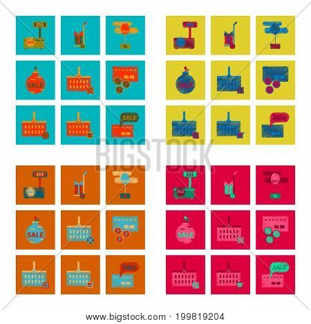 assembly of flat shading style icon Set gifts and discounts