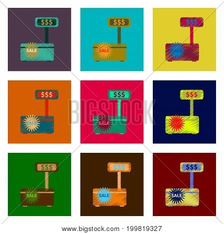 assembly of flat shading style icon cash machine sale discounts