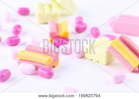 Different chewing gums on the white background