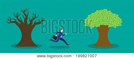 Business Concept As A Businessman Is Running From A Dead Tree To A Money Tree. It Means Leaving From An Expired/Obsolete Industry And Starting To Harvest The Prosperous One.