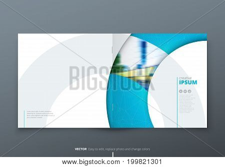 Square Brochure design. Blue corporate business rectangle template brochure, report, catalog, magazine. Brochure layout modern circle shape abstract background. Creative brochure vector concept