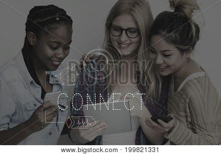 Digital Technology Connect Network Modern
