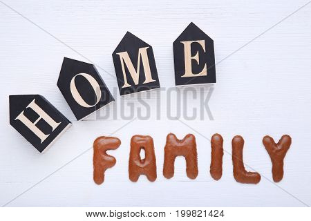 Family Written By Chocolate Cookies Alphabet With Word Home