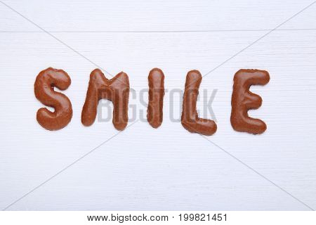 Word Smile Written By Chocolate Cookies Alphabet