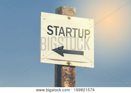 Startup  Word And Arrow Signpost 3