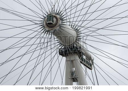 LONDON, ENGLAND - JUNE 08, 2017:  Closeup axis of rotation London Eye near river Thames in London England