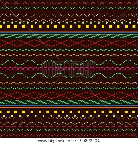 Ethnic bright background Boho pattern isolated on a dark brown background. Vector illustration