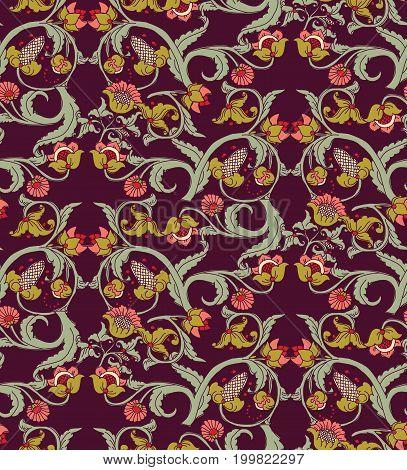 Old Slavic vintage ornament flowers dark seamless pattern. Color vector illustration. EPS8