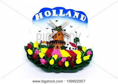 Kota Kinabalu Malaysia - August 15 2017: Wind farm and tulips souvenir from Holland.