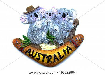 Kota Kinabalu Malaysia - August 15 2017: Cute hugging koalas with boomerang fridge magnet souvenir from Australia.