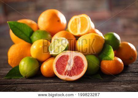 orange juice with citrus fruit -mixed fruit. Fruit background
