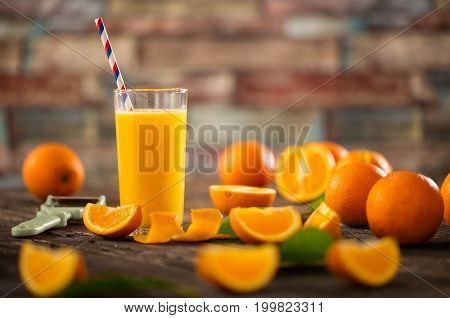 Glasses of fresh organic orange juice. Detox diet