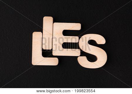 Word Lies on black background. Untruth, taradiddle, fake concept