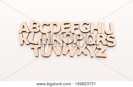 Wooden english letters, copy space. Alphabet study, abc, preschool education concept