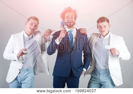 Business Team Happy Smiling On Grey Background