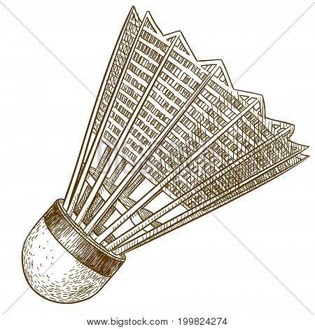 Vector antique engraving illustration of shuttlecock isolated on white background