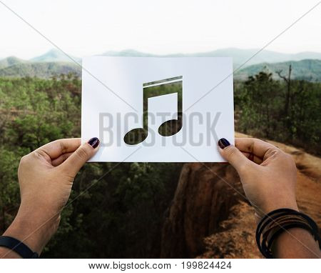 Sound of music perforated musical note