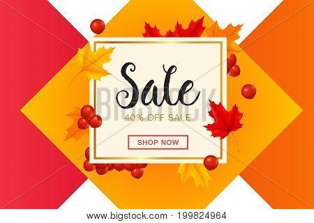Autumn sale. Template banner, discount, flyer, invitation, poster.