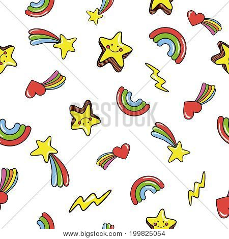 Seamless pattern with cute smiling stars. doodle comets lightnings rainbows on white background. Vector illustration.