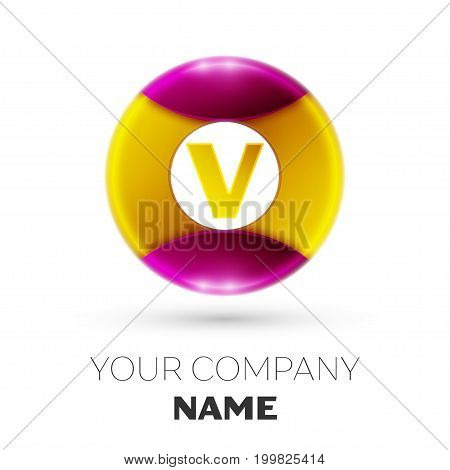 Realistic Letter V vector logo symbol in the colorful circle on white background. Vector template for your design