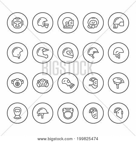 Set round line icons of helmets and masks isolated on white. Vector illustration