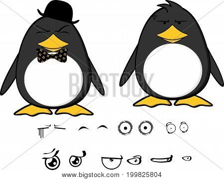 cute little penguin baby cartoon expressions set in vector format very easy to edit