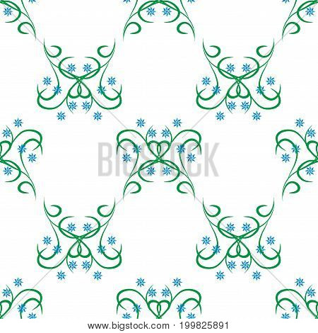 Flower and twig seamless pattern. Fashion graphic background design. Modern stylish abstract texture. Colorful template for prints textiles wrapping wallpaper website etc. Vector illustration