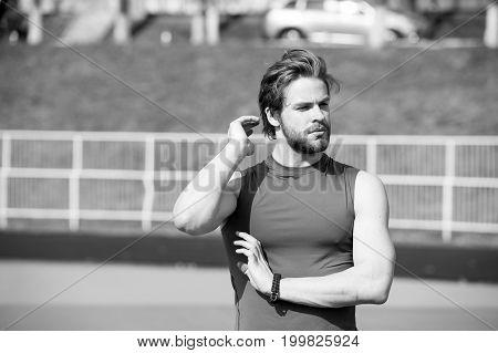 Man Has Stylish Hair In Sportswear, Sport Fashion