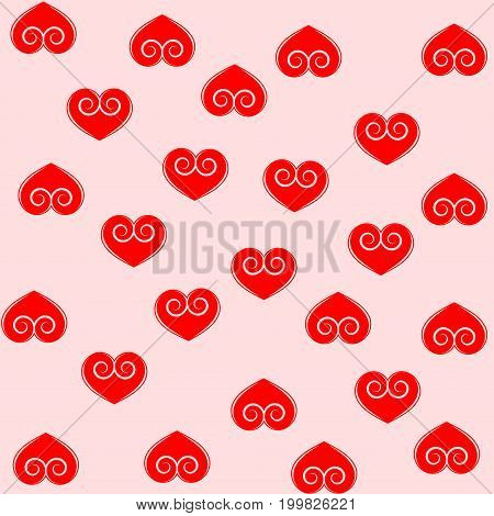 Heart red on pinc seamless pattern. Fashion graphic background design. Modern stylish abstract texture. Colorful template for prints textiles wrapping wallpaper website etc. Vector illustration