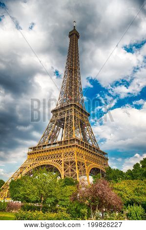 Eiffel Tower At Sunset In Paris, France. Hdr. Romantic Travel Background.