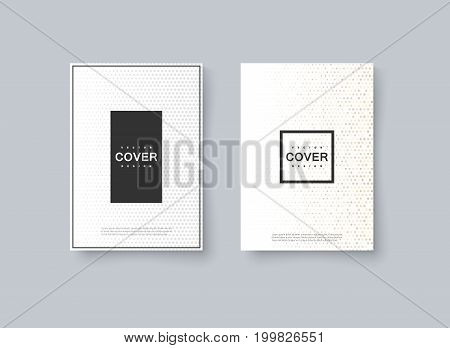 Abstract halftone cover design. Vector creative illustration. Mockup template for corporate branding. A4 paper size poster with abstract dotted texture. Brochure or booklet design template