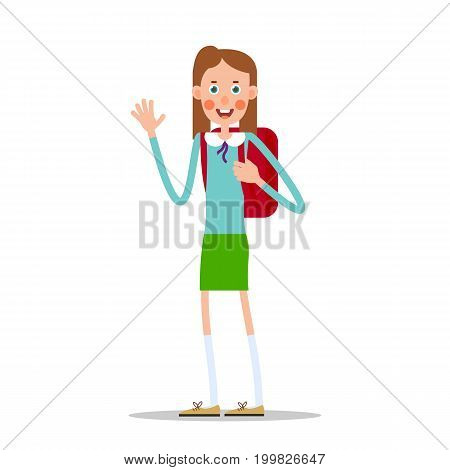 Schoolgirl with a backpack smiling and waving her hand. Illustration in flat style. Isolated