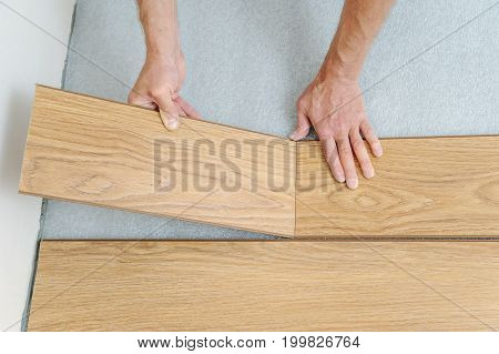 Installation of a laminate floorboard. Worker's hands are attaching one bar after another.