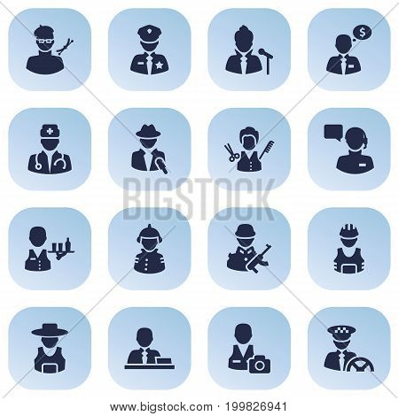 Collection Of Driver, Officer, Vocalist And Other Elements.  Set Of 16 Position Icons Set.