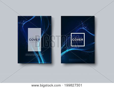 Abstract glowing neon wave cover design. Vector creative illustration. Mockup template for design. A4 paper size poster with illuminated 3d shape of particles. Futuristic structure. Technology concept