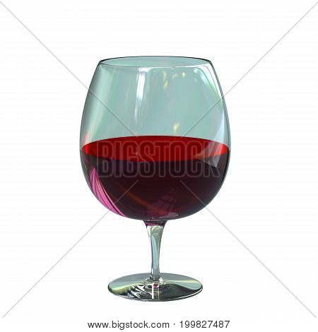 Red wine in a glass isolated on white background . 3d illustration