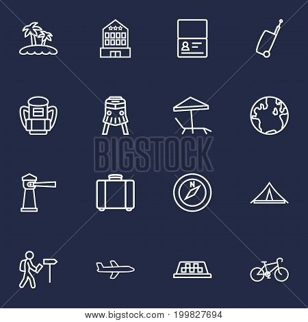 Collection Of Certificate, Bike, Taxi And Other Elements.  Set Of 16 Relax Outline Icons Set.