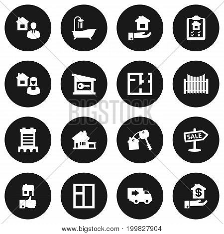 Collection Of Real Estate Agent, Broker, Advertisement And Other Elements.  Set Of 16 Estate Icons Set.