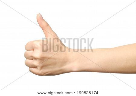 Closeup Of Female Hand Showing Thumbs Up Sign